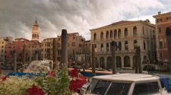 Venice canal near Rialto bridge during bad rainy weather, Italy. - stock footage