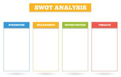 Simple colorful chart for SWOT analysis - stock illustration