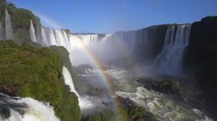 Double Rainbow at Iguazu Falls, on the Border of Argentina and Brazil - stock footage