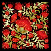 abstract red floral ornament isolated on black - stock illustration