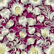abstract vintage seamless floral ornament - stock illustration