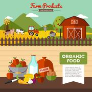 Two Farm Banners In Flat Style Stock Illustration