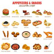 Appetizers and Snacks Icons - stock illustration