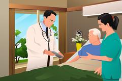 Doctor Talking to His Patient - stock illustration