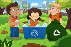 Stock Illustration of Kids Recycles Bottles