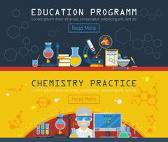 Two Chemistry Horizontal Banners - stock illustration