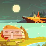 Hiking And Camping Banners Set - stock illustration