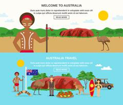 Welcome To Australia Banners - stock illustration