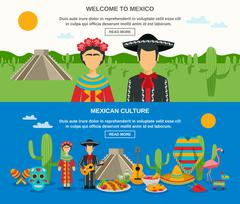Mexico Banner Set - stock illustration