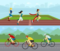 People Sport Horizontal Banner Set Stock Illustration