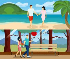People Love Banner Set Stock Illustration