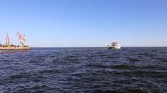 Pleasure boat goes to sea Stock Footage