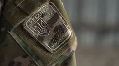 Badge on the sleeve soldier Stock Footage