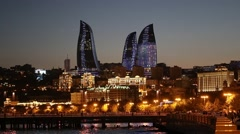 Night view of the Flame Towers. Flame Towers are new skyscrapers in Baku Stock Footage