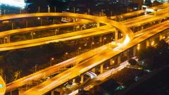 Bangkok highway street traffic night timelapse Stock Footage