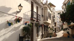 Traditional spanish city, Estepona, Andalusia, Spain, street, history district - stock footage