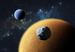 Extrasolar planets or exoplanets with moon. - stock illustration