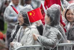A peaceful demonstration of Chinese activists in Washington Stock Photos