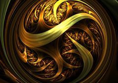 Stock Illustration of Gold fractal digital artwork