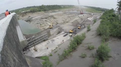 River irrigation dam upgrade project Stock Footage