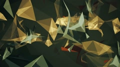 Abstract floating triangles in brown on green color Arkistovideo
