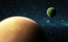 Extrasolar planets or exoplanets. Illustration - stock illustration