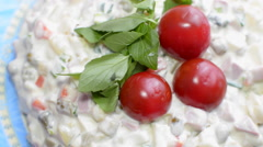 Rotates Russian Salad With Tomatoes Stock Footage