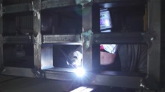 Tig welding in factory Stock Footage