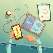 Online Medical Help Background - stock illustration