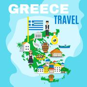 Map Greece Poster - stock illustration
