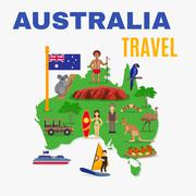Australia Travel Map Poster - stock illustration