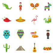 Mexico Flat Icon Set - stock illustration