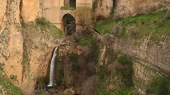 Waterfall in Ronda, Andalusia, Spain, rocks, mountains - stock footage
