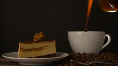 coffee cup with tasty cheesecake - stock footage