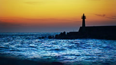 Lighthouse under sunburst Stock Footage