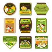 Vegetarian Food Colorful Emblems Stock Illustration