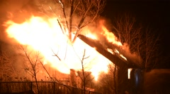 Barn Fire With Heavy Flames Stock Footage