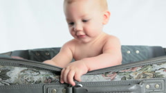 Little Boy In Suitcase Isolated on White Stock Footage