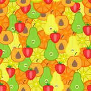 Fruits seamless pattern - stock illustration