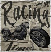 Legendary vintage racers t-shirt label design with racer and motorcycle hand Stock Illustration