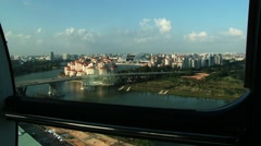 View from the cabin of the Singapore flyer Ferris wheel in Singapore, Singapore. - stock footage