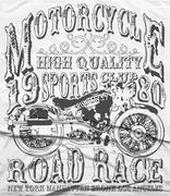 Vintage Motorcycle vector tee graphic design - stock illustration