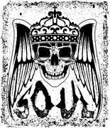 Skull Tee Graphic Design - stock illustration