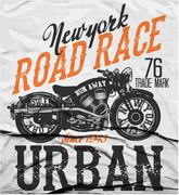 Stock Illustration of Motorcycle label t-shirt design with illustration of custom chopper..