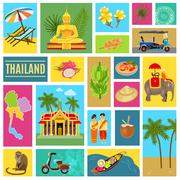 Thailand Tiled Poster - stock illustration
