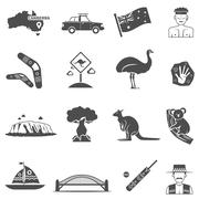 Australia Black White Icons Set - stock illustration