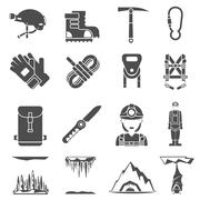 Speleology Black Icons Set Stock Illustration