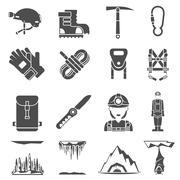 Stock Illustration of Speleology Black Icons Set