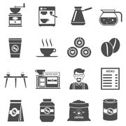 Coffee Shop Black Icons Set - stock illustration
