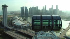 View from the cabin of the Singapore flyer Ferris wheel in Singapore, Singapore. Stock Footage
